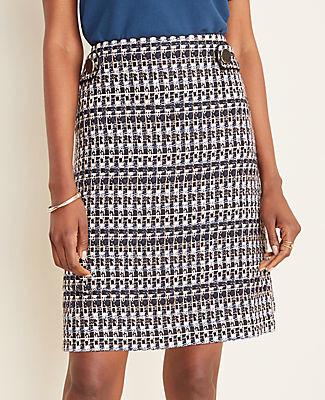 Ann Taylor Tall Tweed Button Tab A-Line Skirt