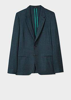 Paul Smith Men's Dark Green Wool-Silk Textured-Check Blazer