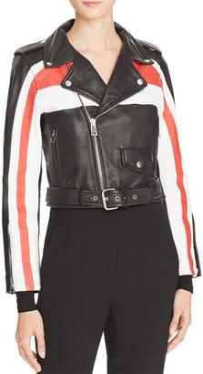 Maje Beril Leather Biker Jacket