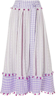 Dodo Bar Or Belted Tasseled Cotton-jacquard And Poplin Midi Skirt - Lavender