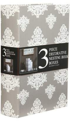 Unbranded Decorative Nesting Storage Book Boxes, Set of 3, Grey