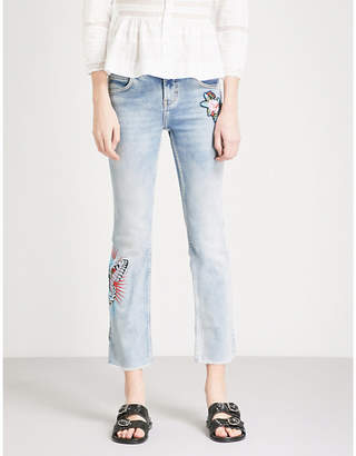 Maje Popsy embroidered flared high-rise jeans