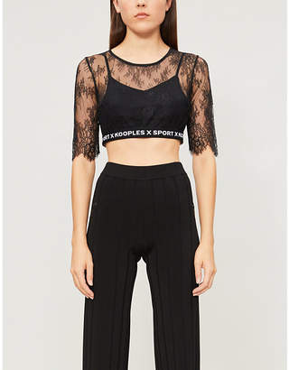 The Kooples Round-neck sheer cropped stretch-lace top