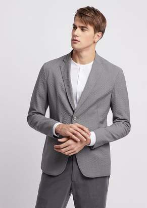 Emporio Armani Slim-Fit Single-Breasted Blazer In Stretch Wool Seersucker