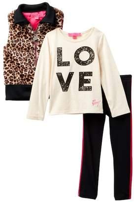 Betsey Johnson Graphic Tee, Faux Fur Leopard Print Vest & Pleather Moto Leggings Set (Little Girls)
