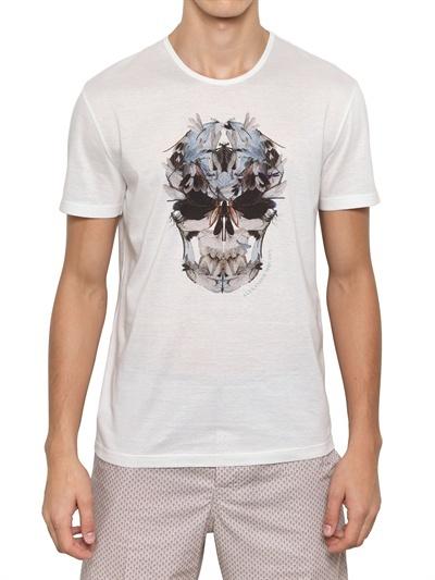 Alexander McQueen Dragonfly Skull Cotton Jersey T-Shirt