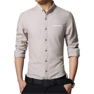 2e143d69ad Yulongo Men s Casual Shirt Long Sleeve Banded Collar Easy Care Collarless Shirts  Slim Fit Dress Shirt