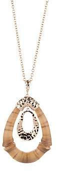 Alexis Bittar Hammered Bamboo Double Link Pendant Necklace
