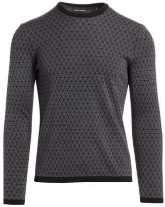 Emporio Armani Bi-Color Geometric Jacquard Wool Sweater