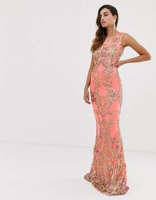 Goddiva high neck maxi embellished sequin dress in coral with gold sequin