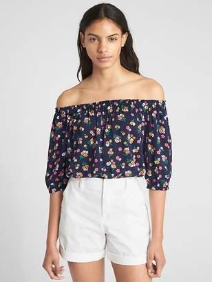Gap Long Sleeve Floral Print Off-Shoulder Top