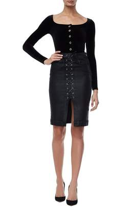 Good American The Lace Up Waxed Jean Pencil Skirt