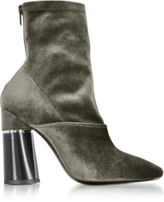 3.1 Phillip Lim Kyoto Olive Velvet Stretch High Heel Ankle Boots
