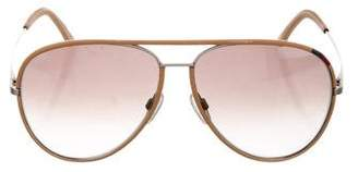 Tod's Leather-Trimmed Aviator Sunglasses