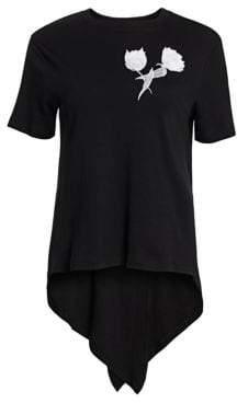 Oscar de la Renta Women's Floral Embroidered High-Low Tee - Black - Size XS