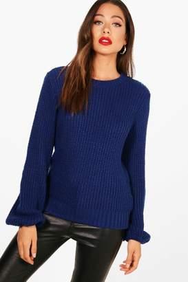 boohoo Izzie Blouson Sleeve Soft Knitted Jumper