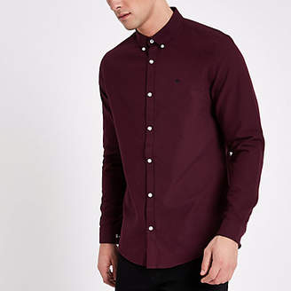 River Island Burgundy chest embroidered Oxford shirt