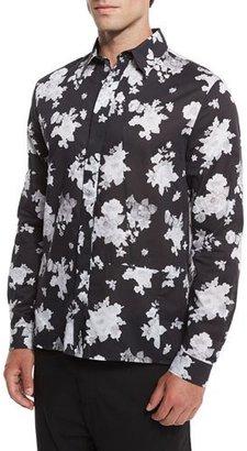McQ Alexander McQueen Floral-Print Sport Shirt, Greyscale $330 thestylecure.com