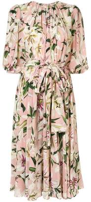 Dolce & Gabbana lily print belted dress