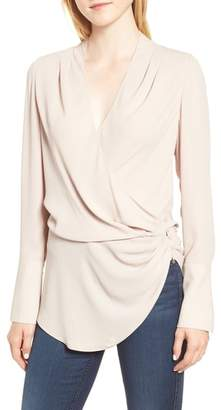 Trouve Long Sleeve Wrap Blouse