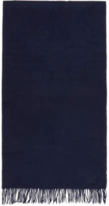 Paul Smith Navy Wool Plain Scarf
