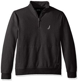 Nautica Men's Long Sleeve Half Zip Mock Neck Sueded Fleece Sweatshirt