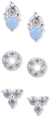 Unwritten 3-Pc. Set Cubic Zirconia and Stone Stud Earrings in Sterling Silver
