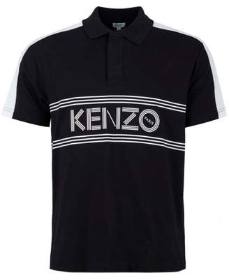 Kenzo Logo Striped Short Sleeved Polo Colour: BLACK, Size: MEDIUM