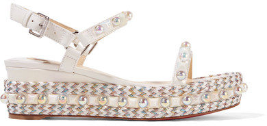 Christian Louboutin - Cataconico 60 Embellished Leather Wedge Sandals - White