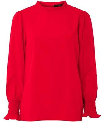 Dorothy Perkins Womens Red Shirred Cuff Top