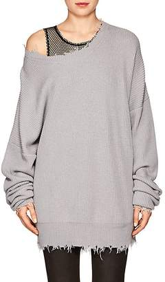 Taverniti So Ben Unravel Project Women's Distressed Cotton-Cashmere Oversized Sweater