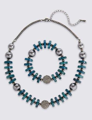 M&S Collection Pearl Necklace & Bracelet Set