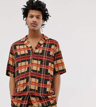 Reclaimed Vintage inspired branded check print revere shirt
