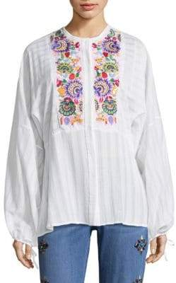 Etro Floral Embroidered Cotton Blouse
