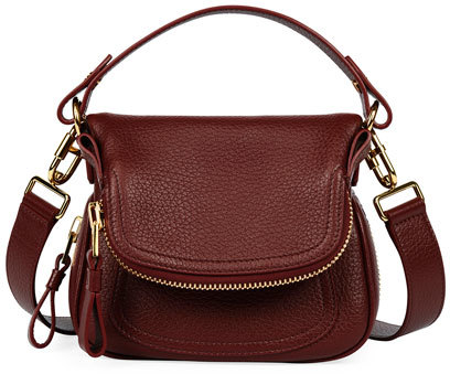Tom Ford Tom Ford Jennifer Small Grained Leather Shoulder Bag, Dark Red