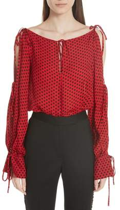 Milly Connie Dot Print Silk Georgette Top