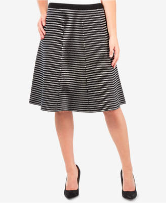 NY Collection Patterned Sweater-Knit A-Line Skirt