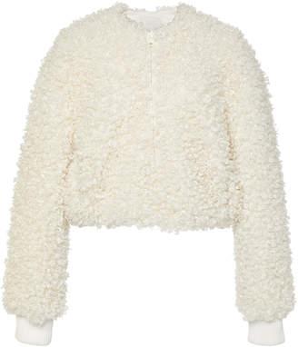Tibi Faux Curly Lamb Cropped Bomber Jacket