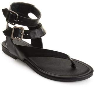 Brinley Co. Womens Faux Leather Buckle Double Wrap Thong Sandals