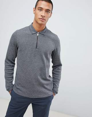Ted Baker knitted polo shirt in gray waffle