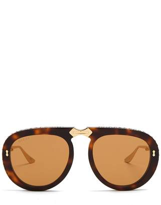 Gucci Round-frame foldable acetate sunglasses