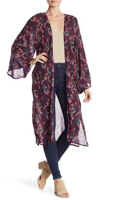 Melrose and Market Floral Printed Long Bell Sleeve Cardigan