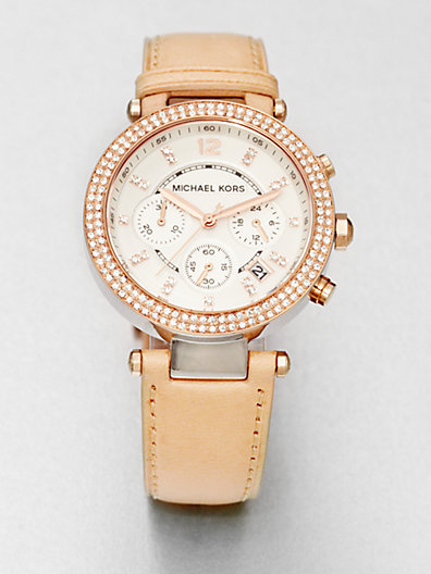 Michael Kors Crystal Rose Goldtone Stainless Steel Chronograph Watch