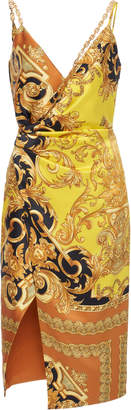 Versace Printed Silk Midi Wrap-Effect Dress Size: 40