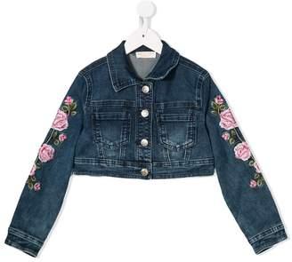 MonnaLisa rose embroidery denim jacket