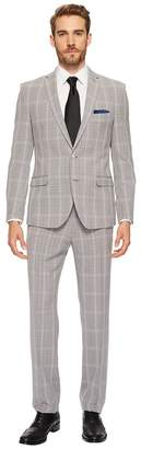 Nick Graham Black White Plaid Suit Men's Suits Sets