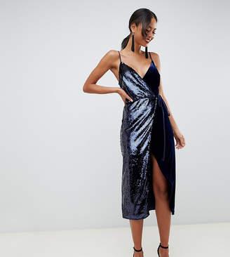 Asos Tall DESIGN Tall sequin and velvet cami wrap midi dress
