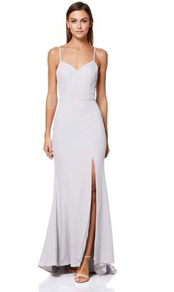 Jarlo Womens Cross Back Strap High Split Fishtail Gown - White