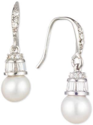 Carolee Silver-Tone Crystal & Freshwater Pearl (6mm) Drop Earrings