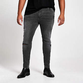 River Island Big and Tall black wash ripped jeans